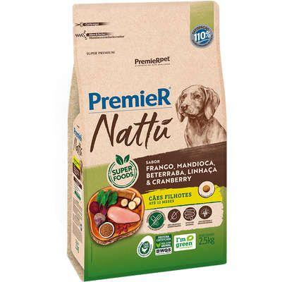 Ração Premier Nattu Cães Filhotes  Sabor Frango e Mandioca