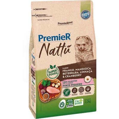 Ração Premier Nattu Cães Filhotes  Raças Pequenas Sabor Frango e Mandioca