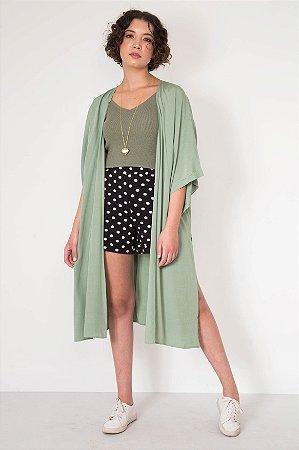 Kimono Liso Longo Fenda Lateral