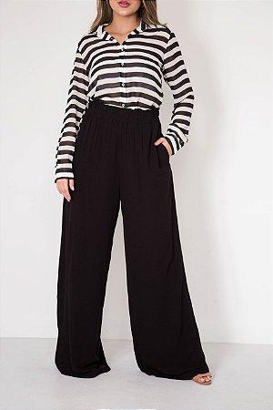 Calça Pantalona Lisa Elástico
