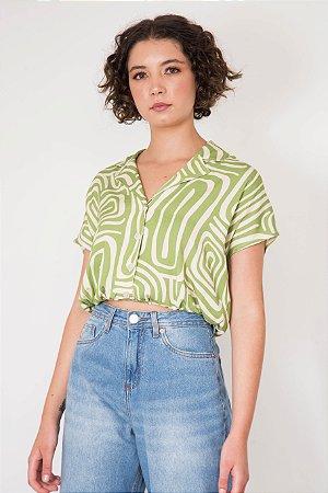 Camisa Semi Cropped Geométrica Barra Elástico