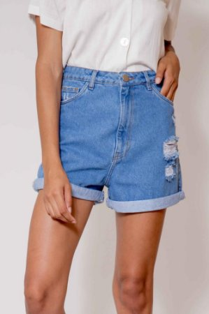 Short Mom Jeans Detalhe Destroyed