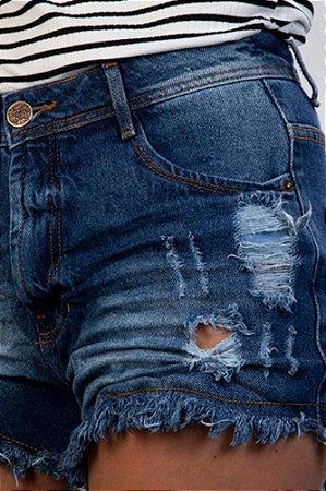 Short Jeans Destroyed Cintura Alta