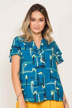 Camisa Manga Curta Aves Geométricas