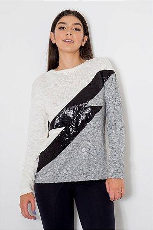 Suéter Tricot Raio Paetê