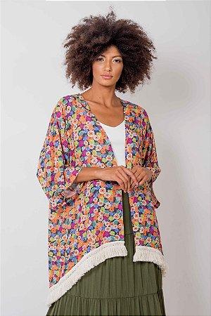 Kimono Floral Franjas