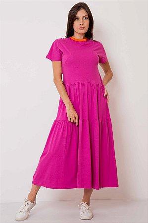 Vestido Longuete Camadas Gola Color