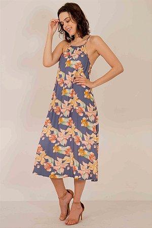 Vestido Midi Floral Alça Amarração