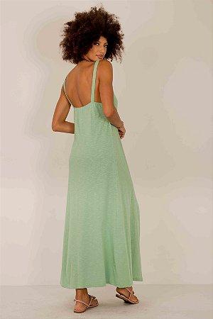 Vestido Malha de Algodão Bolso Fenda Frontal