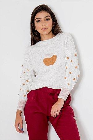 Suéter Tricot Maçã Manga Poás