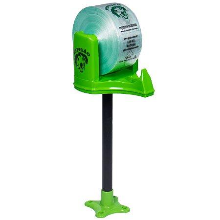 Suporte de Bancada Verde Com 1075 Saquinhos Higiênicos Cata Caca Pipicão