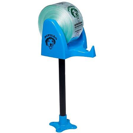 Suporte de Bancada Azul Claro Com 1075 Saquinhos Higiênicos Cata Caca Pipicão