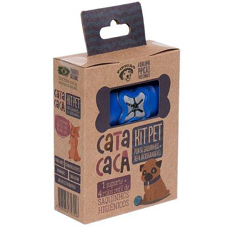 Kit Higiênico Porta Cata Caca Azul Escuro Com 4 Rolos de Saquinhos Pipicão