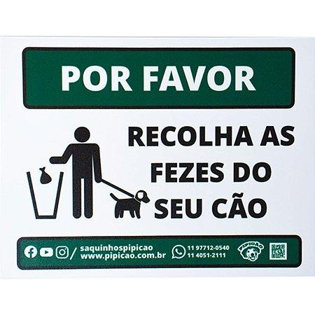 """Placa """"Por Favor - Recolha as Fezes do Seu Cão"""" em PVC 20x15cm"""