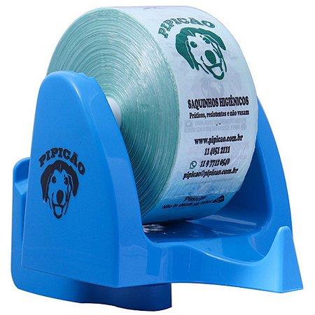 Suporte de Parede Azul Com 1075 Saquinhos Higiênicos Cata Caca Pipicão