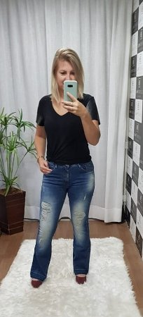 CALÇA JEANS MIGNON SKINNY FLARE