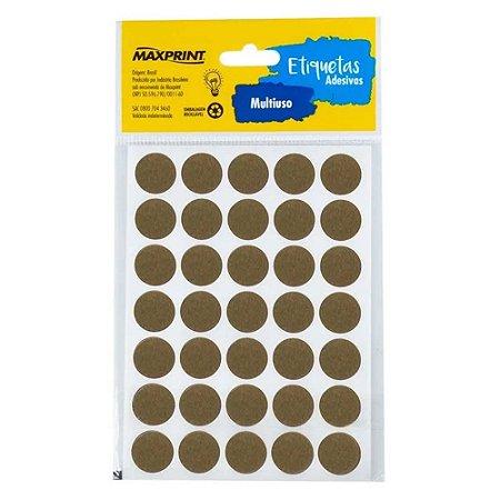 Etiqueta Multiuso Maxprint TP19AZ Diâmetro 19mm 6 folhas Ouro