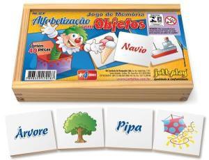 Jogo da Memória Alfabetização com Objetos (40 peças) - Jott Play