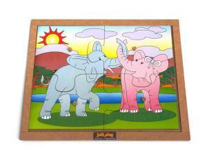 Quebra-Cabeça com pinos (4 peças) modelo Elefantes - Jott Play