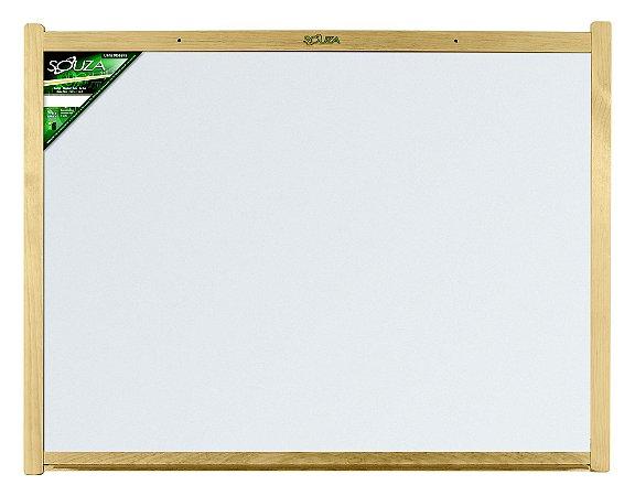 Quadro Branco Moldura Madeira 90X60cm Luxo - Souza