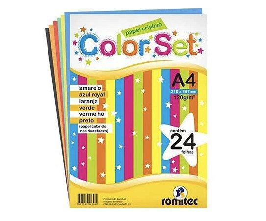 Papel Criativo A4 120g com 6 cores pacote com 24 folhas