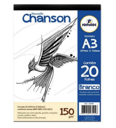 Bloco Desenho A3 Branco 150g com 20 Folhas Romitec