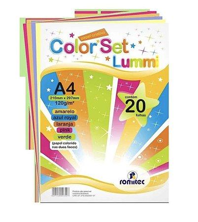 Papel Criativo A4 Lummi 120g com 5 cores pacote com 20 folhas