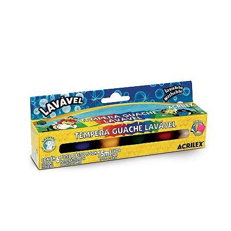 Tinta Guache 15ml 6 Cores Lavável Acrilex