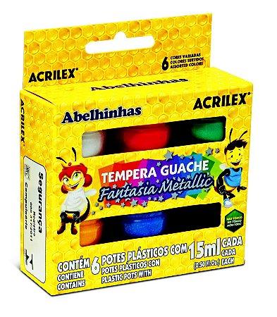 Tinta Guache 15ml 6 Cores Metallic Acrilex