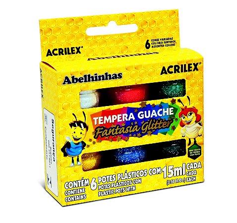 Tinta Guache 15ml 6 Cores Glitter Acrilex