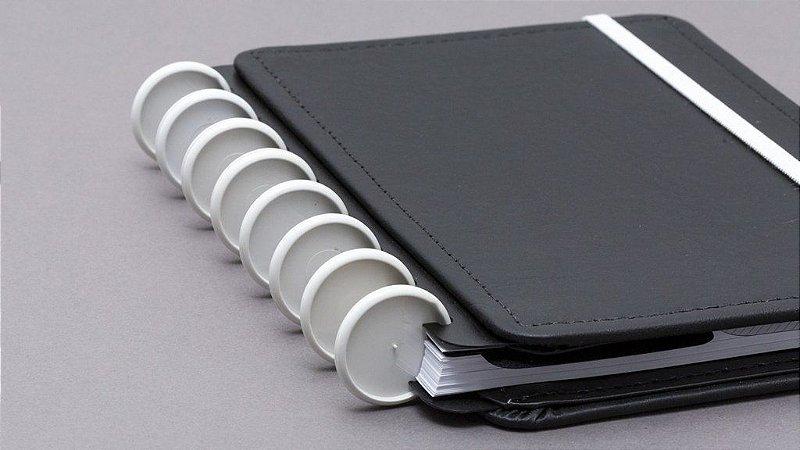 Discos e Elástico Branco Caderno Inteligente