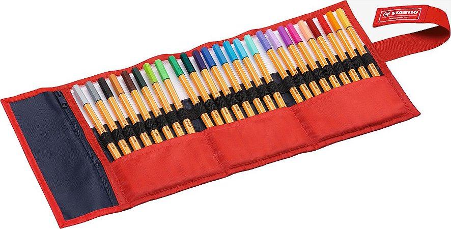 Estojo Caneta Stabilo Point 88 Rollerset com 25 cores
