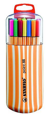 Estojo Caneta Stabilo Point 88 Zebrui com 20 cores