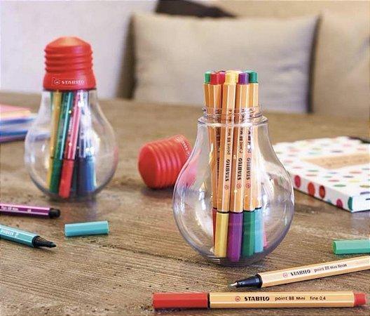 Estojo Caneta Stabilo Point 88 Colorful Ideas com 12 cores