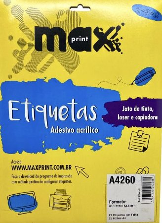 Etiqueta Maxprint A4260 com 25 Folhas