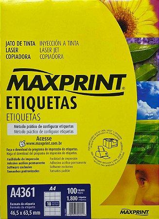 Etiqueta Maxprint A4361 com 100 Folhas