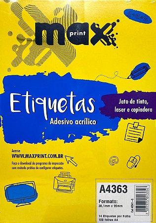 Etiqueta Maxprint A4363 com 100 Folhas