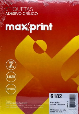 Etiqueta Maxprint Carta 6182 com 100 Folhas