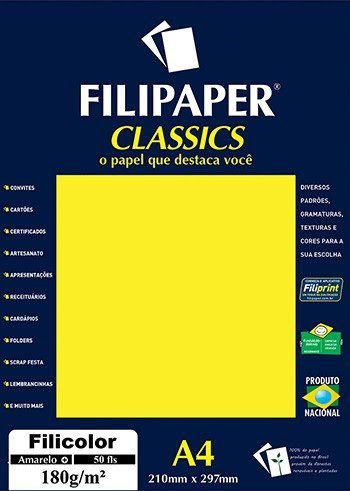 Papel Filicolor A4 50 Folhas 180g/m² - Filiperson
