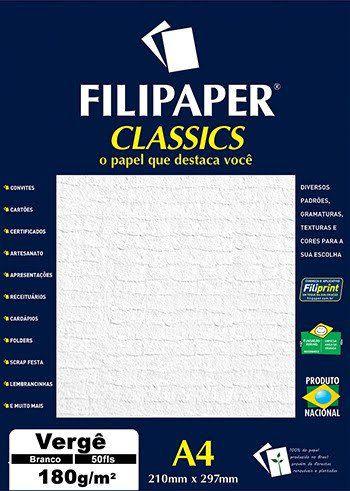 Papel Vergê A4 Branco 50 folhas 180g/m² - Filiperson