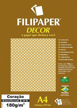Filipaper DECOR A4 20 Folhas 180g/m² Coração Branco Dourado -Filiperson