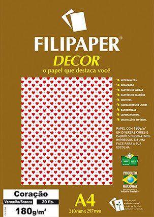 Filipaper DECOR A4 20 Folhas 180g/m² Coração Vermelho Branco -Filiperson