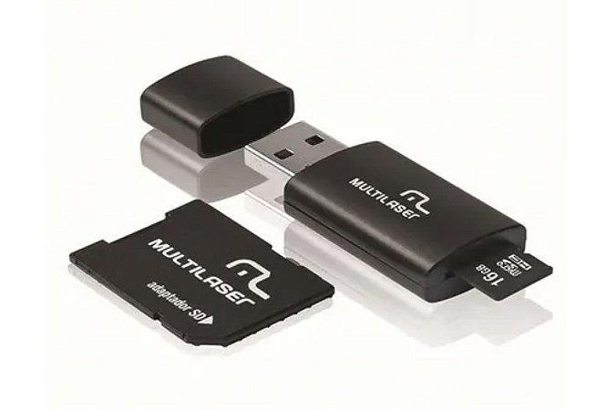 Pen Drive 3x1 Multilaser SD + Cartão De Memória Classe 10 16GB Preto - MC112