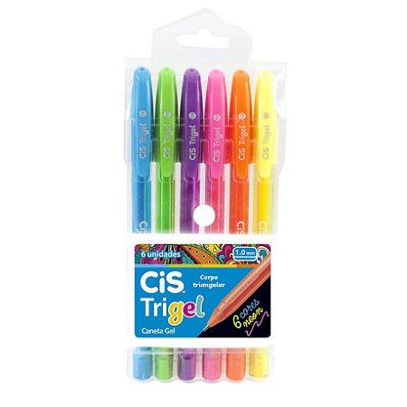 Caneta Trigel 1.0 Neon com 6 Cores CIS