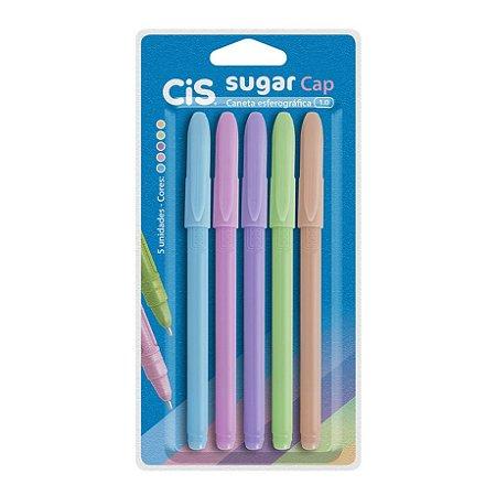Caneta Esferográfica Sugar Cap 1.0 com 5 Cores Pastel CIS