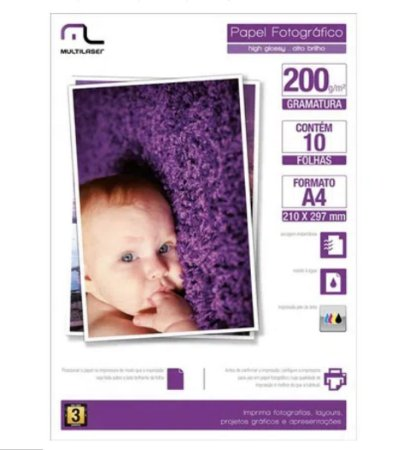 Papel Fotográfico Multilaser A4 200G /M2 C/ 10 Folhas - Branco - PE011
