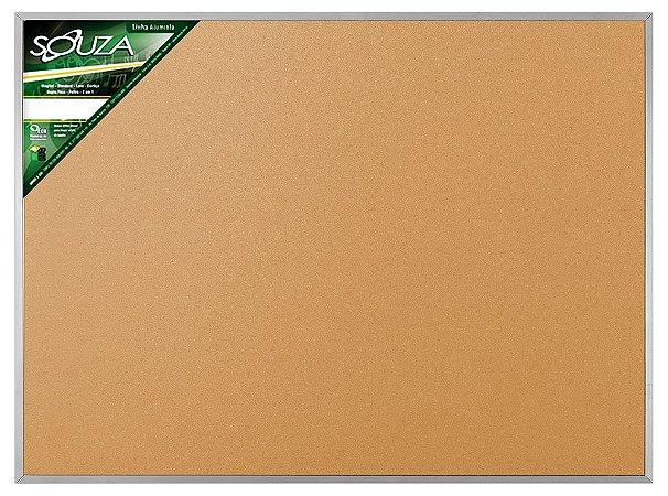 Quadro de Avisos Cortiça Moldura Alumínio 90x60cm - Souza
