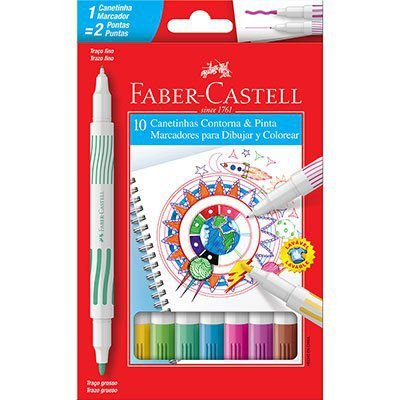 Caneta Hidrográfica 10 cores Ponta Dupla - Faber