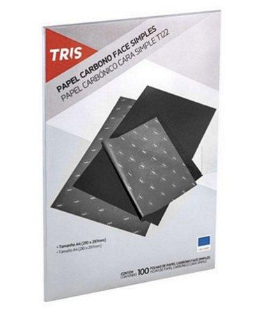 Papel Carbono 100 Folhas Tris Preto T122