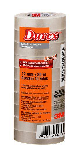 Fita Adesiva Durex™ Transparente 12mm x 30m 3M - Unidade